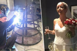 Bride wears custom made prosecco dress.